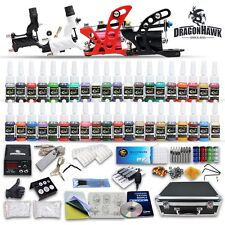 Professional Rotary Tattoo Machine Kit Equipment 4 Gun Power Supply 40 Inks Set