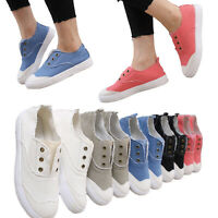 Womens Ladies Running Canvas Sneakers Flat Trainers Pumps Casual Slip On Shoes