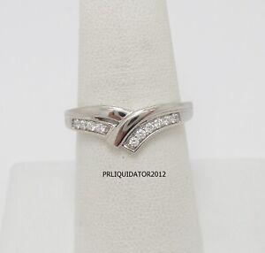 .15CT Diamond Contour Shared Prong Anniversary Wedding Band Ring 10K White Gold