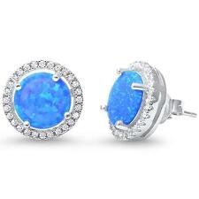 .925 Sterling Silver Earrings Lab Created Blue Opal Halo