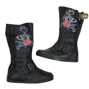 vans Women's Size 5 reily floral Snakes Black Lace Up Buckle boots