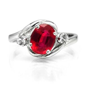 8x6mm Natural Rich Red Ruby Ring With White Topaz in 925 Sterling Silver
