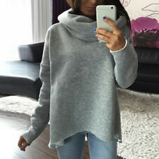 Women Hoodie Warm Solid Turtleneck Long Sleeve Fashion Casual Autumn Sweatshirts Red L