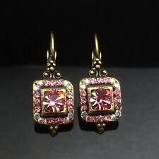 SWAROVSKI Antique Lantern Pink Crystal Earring Wedding Diamante Gold Square