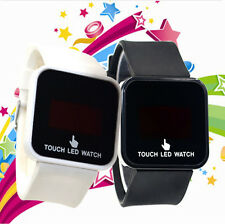Stylish Womens Mens Digital Touch Screen Square Dial LED Sports Wrist Watch Gift