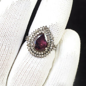 Natural Rubellite Diamond Ring AAA Luxury Offer 925 Sterling Silver US 6.30