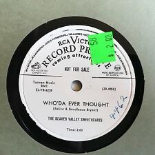 New listing THE BEAVER VALLEY SWEETHEARTS Who'da Ever Thought b/w I Care No More 1952 PROMO