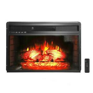 """Zokop Embedded 27"""" Electric Fireplace Insert Heater Log Flame w/ Remote Control"""
