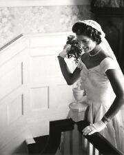 JACQUELINE KENNEDY PREPARES TO THROW HER WEDDING BOUQUET - 8X10 PHOTO (AA-065)