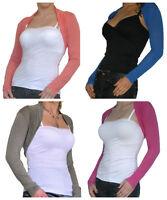 New Ladies Bolero Shrug Top Womens Cropped Cardigan Long Sleeve Size 8 10 12 14