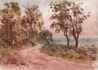 LAURENCE GEORGE BOMFORD Painting c1895 IMPRESSIONIST COASTAL LANE LANDSCAPE