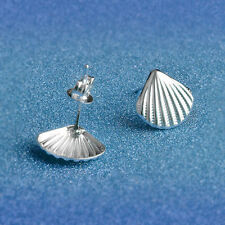 Cute New Silver Plated Textured Shell Stud Post Pierced Earrings