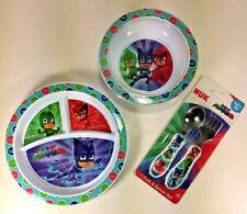 New NUK Disney PJ MASKS Mealtime Set PLATE BOWL FLATWARE 3-Section Hard Plastic