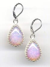 PINK FIRE OPAL Dragons Breath crystal TEARDROP Earrings *Sterling 925 Levers