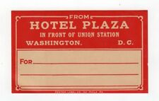 1929 Vintage Luggage Label Sticker Hotel Plaza Union Station Washngton DC USA