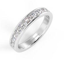 3.2 mm - 1.00 Ct Asscher Diamond Half Eternity Ring, Platinum