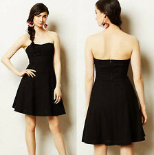 ANTHROPOLOGIE NWT Minuit Eyelet Dress Black Strapless Cotton LBD Sz SP $158