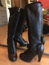 Stivali SERGIO ROSSI 37pelle montone Neri Con Zip Firmata Tacco