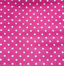 """Small White Polka Dot on Fuchsia Pink Poly Cotton Fabric 60"""" By the yard"""