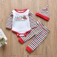 Christmas Newborn Kids Baby Girls Boys Outfits Clothes 3Pcs Romper+Pants+Hat Set