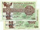 Spain 1 Peseta 2ª Republic 1937 @@Without Circular@@ Pair @@
