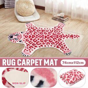 Zebra Pink Leopard Faux Fur Animal Print Area Rug Non Slip Bedroom Carpet Mat UK