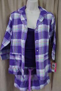 Jenni Sleepwear Sz S Grape Plaid  Cotton Top Cami Boxer 3 Piece Pajama Set