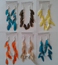 Duck Feather Earrings On Chain In Gold Or Silver & 925 Silver Hooks Hand Made