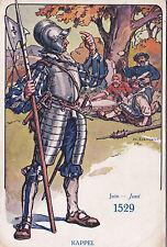Postcard WW1 Switzerland KNIGHT Patriotic June 1529 KAPPEL 1918 Le Soldat Suisse