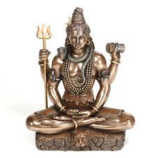 "LORD SHIVA STATUE 8.25"" Hindu Indian God Bronze Resin HIGH QUALITY Seated Figure"
