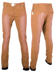 Sprayed Skinny Jeans Faded Slim Fit Chinos Mens Size
