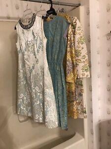 VICTOR COSTA VTG Lot 50/60/70 FRED ROTHSCHILD Metallic Beaded Brocade Dress S/M