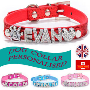 PERSONALISED Leather Dog Cat Pet NAME Collar Crystal Rhinestone with charms UK