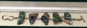 "AUSTRALIAN ABALONE & .925 SILVER BRACELET 7.5"" Toggle Closure NEW w/Jewelry Box"