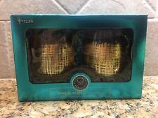 Modern Expression Wine Glasses Hand Painted Gold 1 pkg 2 glasses