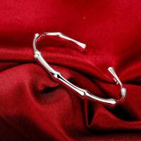 Argent sterling 925 - Bracelet jonc lisse de style bambou vintage - B4772