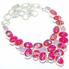 """Pink Rutile Quartz, Chalcedony Silver Jewelry Necklace 18"""" MQR-3028"""