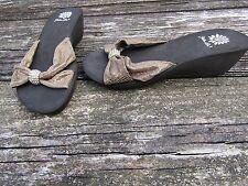 Yellow Box Women's Brown/Bronze Rhinestones Slide Sandals Wedge Heel Size 7
