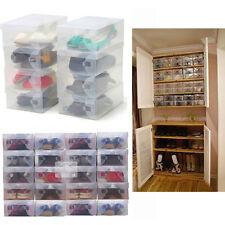10*Durchsichtigen Kunststoff Aufbewahrungsboxen Faltbar Schuh Behälter Organizer