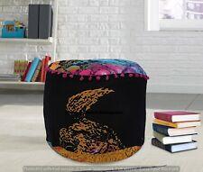 Hippie Multi Color Floor Footstools Handmade Cotton Poufs Pouffe Round Cushion