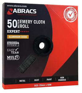 Abracs sandpaper 50m x 25mm Aluminium Oxide Roll Emery Cloth Tape - 40 Grit /P40