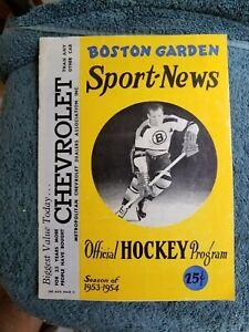 1/24/54 BOSTON BRUINS VS NEW YORK RANGERS NHL HOCKEY QUACKENBUSH, BOWER, HOWELL