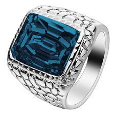 Huge Blue Sapphire 925 Silver Ring Fashion Women Men's Wedding Jewelry Size 6-10