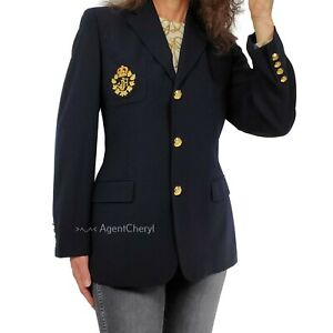 Vntg USA Ralph Lauren 14 Equestrian Blazer FLAWS LRL Crest Button Wool Navy Blue