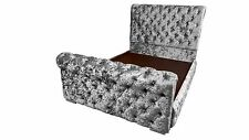 5ft King Size Scroll Sleigh Crushed Velvet Deep Chesterfield Bed - SALE NOW ON!