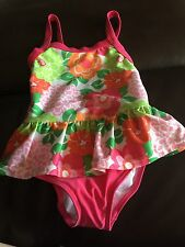 Gymboree Swimsuit One Piece Pink, Green, White flowers 18-24 M Nwt New Girls