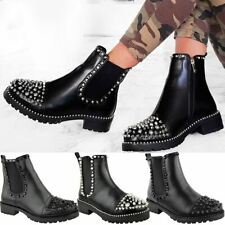 Womens Ladies Spike Studded Chunky Ankle Boots Biker Goth Punk Black Grunge Size