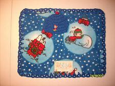 "Preemie Boys Baby Feet 15x14""Charlie Brown Xmas Fleece&Crochet Blanket/HatSet"