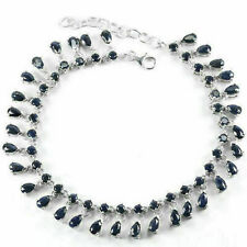 Sterling Silver Bracelet Blue Sapphire Genuine Gem Waterfall  7 1/4 - 8 3/4 Inch