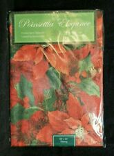 Poinsettia Print Easy Care Christmas Holiday Table Cloth 60 X 84 Benson Mills